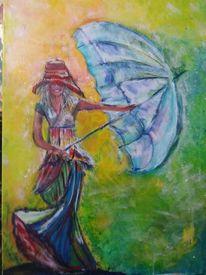 Malen, Schirm, Sommer, Acrylmalerei
