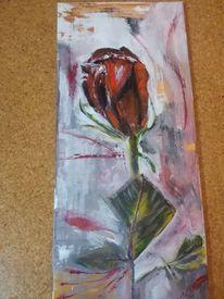 Rot, Acryl gemalt, Rose, Malerei