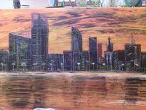 Acrylmalerei, Skyline, Malerei, Landschaft
