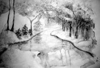 Baum, Fluss, Eis, Mond