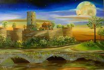 Landschaft, Malerei, Mondlicht, Burg