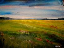 Wolken, Feld, Blumen, Wiese