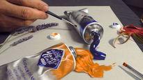 Bleistiftzeichnung, Ölfarbe oil, Skizze, Trick art