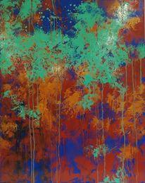 Gold, Spachtel, Blau, Abstract bild