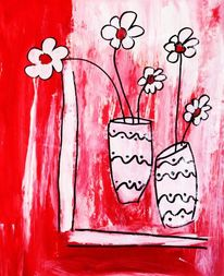 Malen, Blumen, Abstrakt, Vase