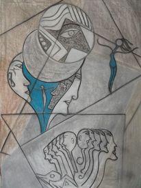 Malerei, Grau, Blau