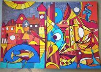 Fisch, Häuser, Fantasie, Abstrakt