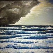 Acrylmalerei, Nordsee sturm, Malerei, Sturm