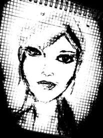 Bleistiftzeichnung, Schwarz, Portrait, Zeichnungen