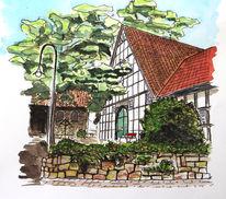 Bauernhof, Fachwerk, Kotten, Dorf