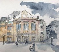 Urban sketching, Architektur, Aquarellmalerei, Theater