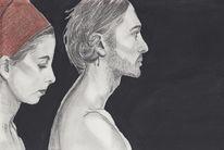 Kohlezeichnung, Bleistiftzeichnung, Rötel, Portrait
