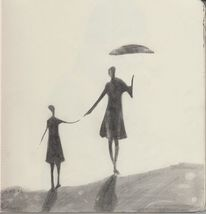 Bleistiftzeichnung, Gegenlicht, Mutter mit tochter, Zeichnungen