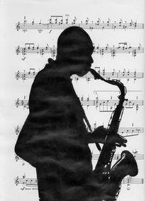 Notenpapier, Acrylmalerei, Jazz, Mischtechnik