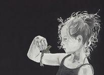 Gouachemalerei, Buntstiftzeichnung, Portrait, Frosch