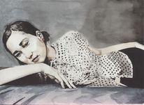 Aquarellmalerei, Portrait, Aquarell, Verträumt