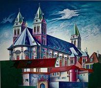 Phantastischer realismus, Fantastischer realismus, Architektur malerei, Lasurtechnik