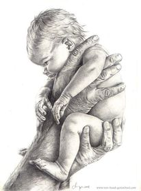 Schwarz weiß, Bleistiftzeichnung, Baby, Geddes
