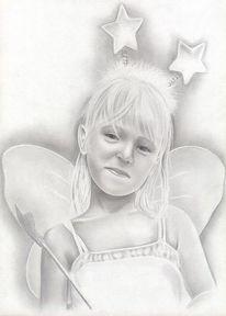 Mädchen, Fee, Bleistiftzeichnung, Zeichnung