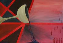 Rot, Kirche, Abendmahl, Acrylmalerei