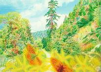 Berge, Ölmalerei, Lichtmalerei, Schmetterling