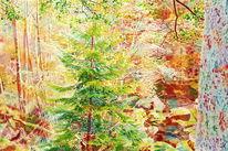 Gegenständlich, Wasser, Wald, Naturmalerei