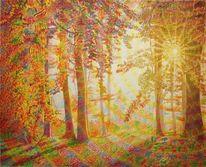 Blätter, Oktober, Sonnenlicht, Ölmalerei