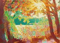 Baum, Oktober, Sonnenstrahlen, Natur