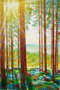 Ölmalerei, Spektralfarbe, Wald, Gegenlicht