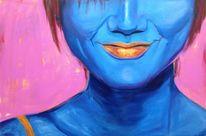Lächeln, Portrait, Pink, Blau