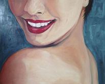 Lachen, Rot, Ölmalerei, Blau