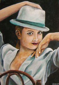 Acrylmalerei, Frau, Malerei, Anzug