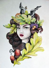 Blätter, Herbst, Horn, Weintrauben