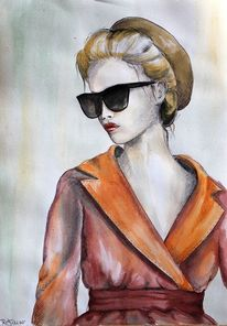Frau, Mantel, Mode, Aquarell