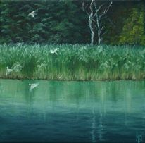 Malerei, Wald, Vogel, Blau