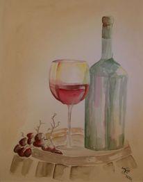Stillleben, Aquarellmalerei, Weinglas, Wein