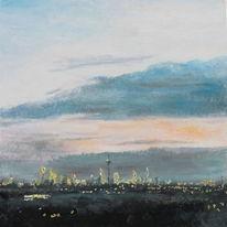 Skyline frankfurt, Wolken, Abend, Landschaft
