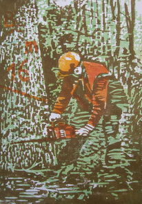 Baum, Holzschnitt, Druckgrafik