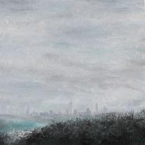 Landschaft, Nebel, Skyline frankfurt, Wolken