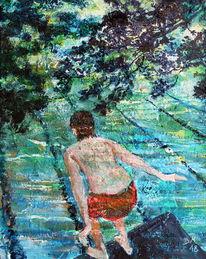 Sprungturm, Freibad, Wasser, Malerei