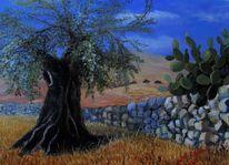 Landschaft, Ölmalerei, Sommer, Malerei