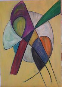 Farben, Abstrakt, Formen, Temperamalerei