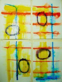 Vlies, Lack, Vier blätter, Aquarellmalerei