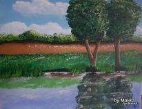Acrylmalerei, Landschaft, Natur, Flusslandschaft