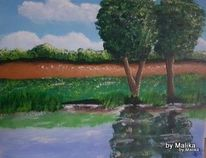 Wasserspiegelung, Acrylmalerei, Landschaft, Flusslandschaft