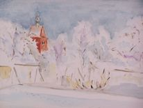Aquarellmalerei, Winter, Architektur, Aquarell