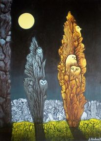 Malerei, Décalcomanie, Mond, Gemälde