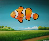 Fisch, Hügel, Malerei, Surreal