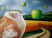 Gemälde, Sperling, Wolken, Apfel