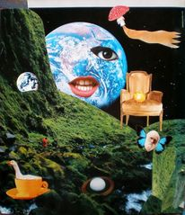 Planet, Gänse, Collage, Erde